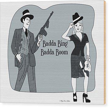 Wood Print featuring the digital art Badda Bing Blue by Megan Dirsa-DuBois