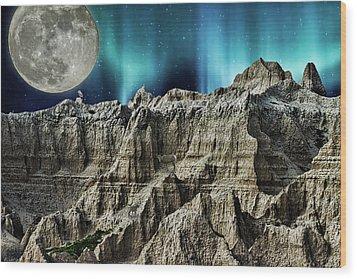 Badland's Borealis Wood Print