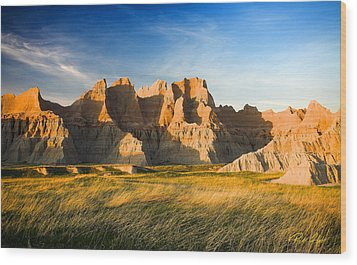 Wood Print featuring the photograph Badlands In Late Afternoon by Rikk Flohr