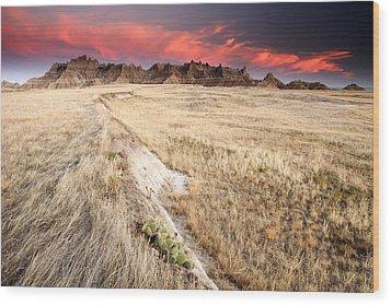 Badlands Sunset Wood Print by Eric Foltz