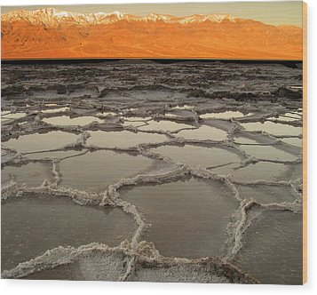 Badwater Sunrise-death Valley Wood Print by Joe  Palermo