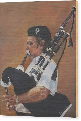Bag Pipe Wood Print by Leonor Thornton
