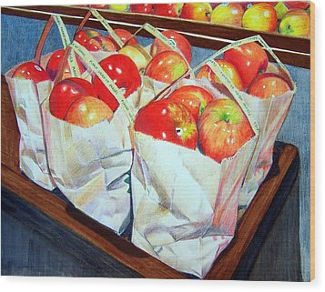 Wood Print featuring the mixed media Bags Of Apples by Constance Drescher