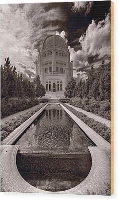 Bahai Temple Reflecting Pool Wood Print by Steve Gadomski