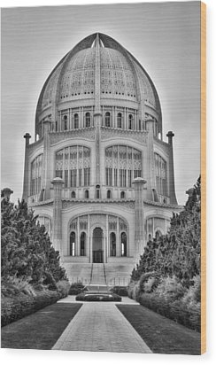 Wood Print featuring the photograph Baha'i Temple - Wilmette - Illinois - Vertical Black And White by Photography  By Sai
