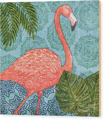 Bahama Flamingo I Wood Print
