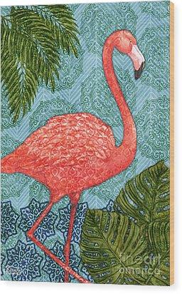 Bahama Flamingo - Vertical Wood Print