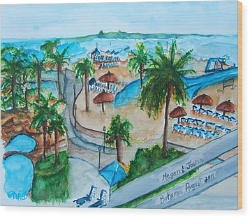 Bahamas Balcony Wood Print by Elaine Duras
