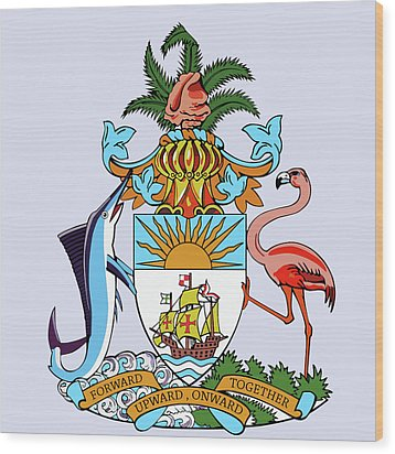 Wood Print featuring the drawing Bahamas Coat Of Arms by Movie Poster Prints