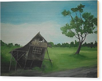 Bahay Kubo Wood Print by Robert Cunningham