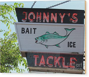 Bait And Tackle Wood Print by Beth Saffer
