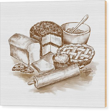 Baked Goods Wood Print by Arline Wagner