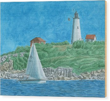 Bakers Island Lighthouse Wood Print by Dominic White