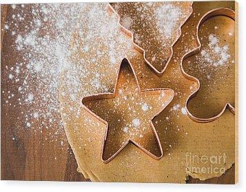Baking Christmas Cookies Wood Print