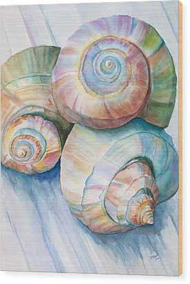 Balance In Spirals Watercolor Painting Wood Print