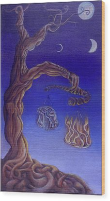 Balance Of Fire And Water Wood Print by Natalia Kadish