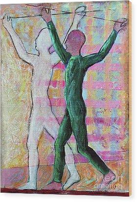Wood Print featuring the painting Balancing Joy by Priti Lathia