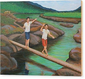 Balancing Life Through A Straight And Narrow Path Wood Print