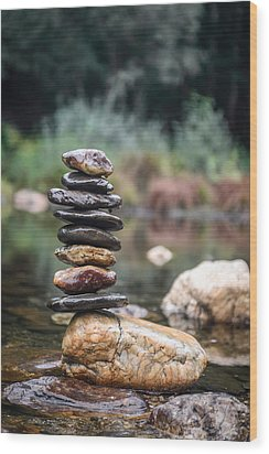 Balancing Zen Stones In Countryside River I Wood Print