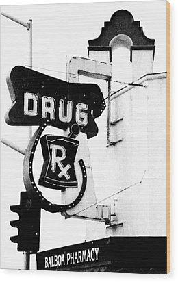 Balboa Drug Wood Print by Rosanne Nitti