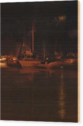 Balboa Island Newport Bay Night Wood Print by Angela A Stanton