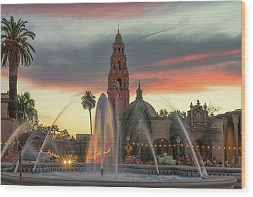 Balboa Park Sunset Wood Print