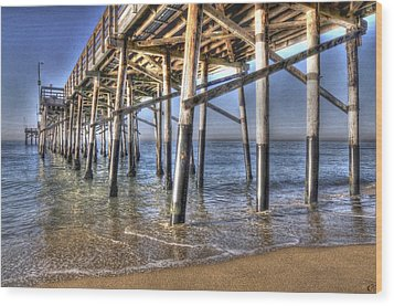 Balboa Pier Pylons Wood Print