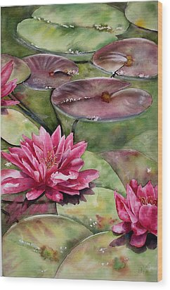 Balboa Water Lilies Wood Print by Mary McCullah