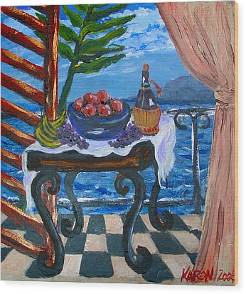 Balcony By The Mediterranean Sea Wood Print by Karon Melillo DeVega