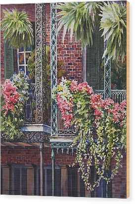 Balcony Gardens Wood Print by Sue Zimmermann