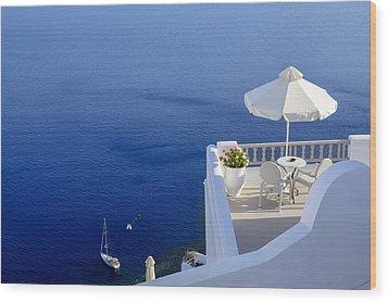 Balcony Over The Sea Wood Print by Joana Kruse