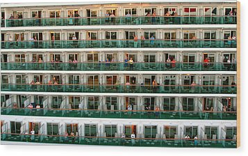 Balcony People Wood Print by Perry Webster