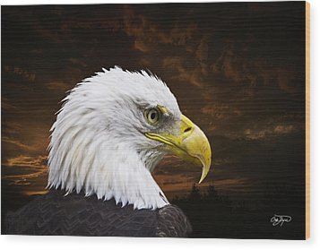 Bald Eagle - Freedom And Hope - Artist Cris Hayes Wood Print by Cris Hayes