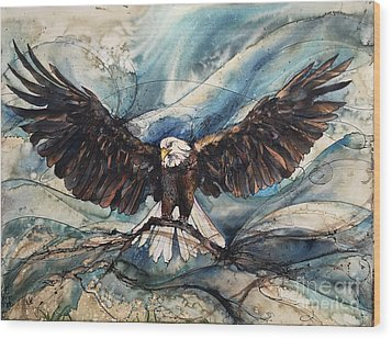 Wood Print featuring the painting Bald Eagle by Christy Freeman