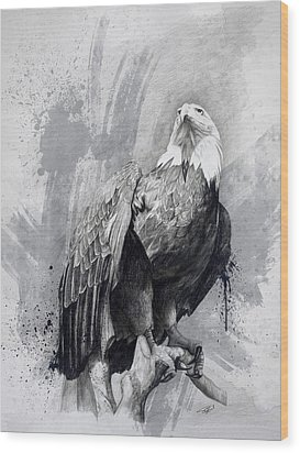 Wood Print featuring the drawing Bald Eagle Drawing by Steve Goad
