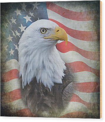 Wood Print featuring the photograph Bald Eagle With American Flag by Angie Vogel