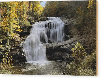 Bald River Falls In Autumn Wood Print by Darrell Young