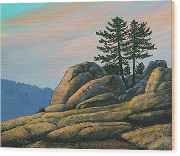 Wood Print featuring the painting Bald Rock At Sunset by Frank Wilson