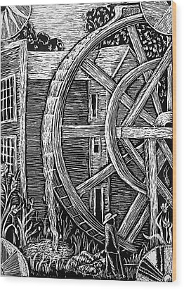 Bale Grist Mill Wood Print by Valera Ainsworth