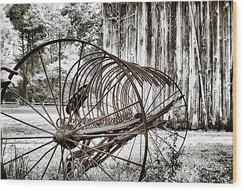Bale The Hay Wood Print by Greg Sharpe