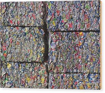 Bales Of Aluminum Cans Wood Print by David Buffington
