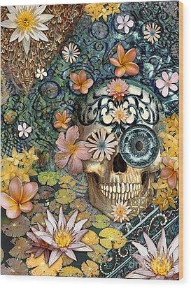Bali Botaniskull - Floral Sugar Skull Art Wood Print by Christopher Beikmann
