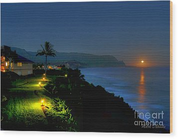 Bali Hai Moonset Wood Print