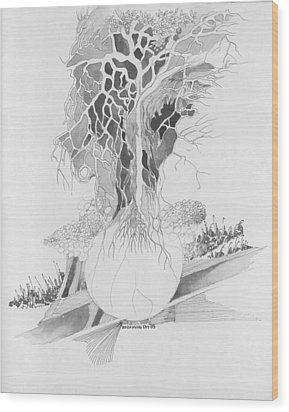 Wood Print featuring the drawing Ball And Tree by Padamvir Singh