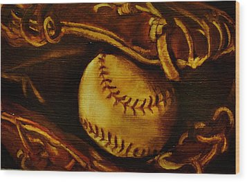 Ball In Glove 2 Wood Print by Lindsay Frost