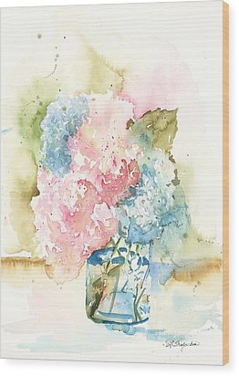 Ball Jar Hydrangeas Wood Print by Sandra Strohschein