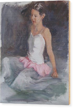 Ballerina At Rest Wood Print by Connie Schaertl