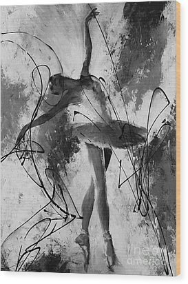 Ballerina Dance Black And White  Wood Print by Gull G