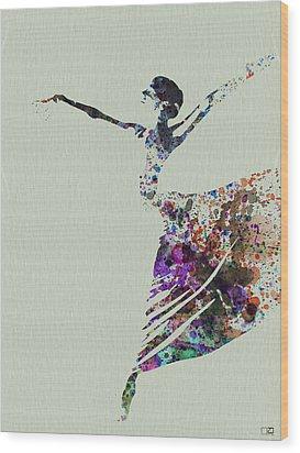 Ballerina Dancing Watercolor Wood Print by Naxart Studio