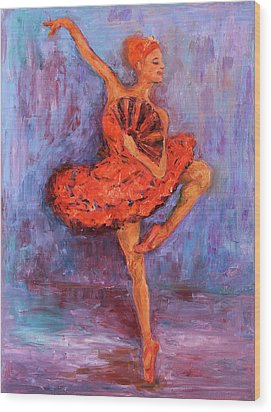 Wood Print featuring the painting Ballerina Dancing With A Fan by Xueling Zou